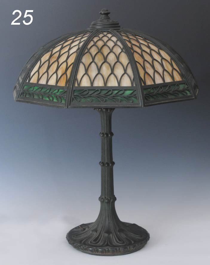 25: BRONZE TABLE LAMP with overlay slag glass shade 18""