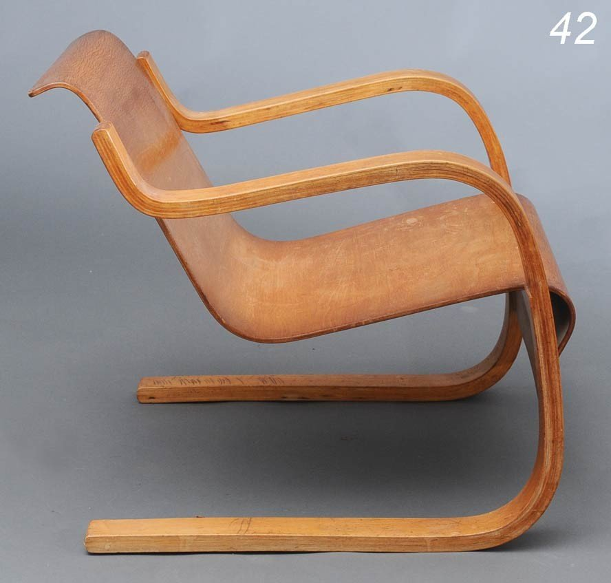 "42: ALVAR AALTO model 31 laminated armchair 26 1/2"" hig"