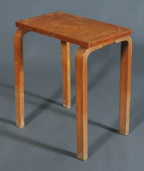 """ALVAR AALTO Side Table With Laminated Legs 27"""" High"""