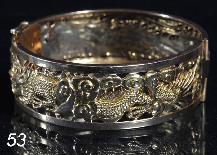 53: CHINESE 22K GOLD CUFF BRACELET 29.6 dwt   Shipping