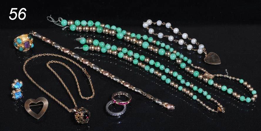 56: LOT OF GOLD JEWELRY including heart bracelet, neckl