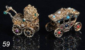 PAIR OF MECHANICAL 14K CHARMS Each Encrusted With S
