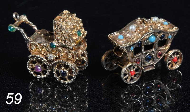 59: PAIR OF MECHANICAL 14K CHARMS each encrusted with s