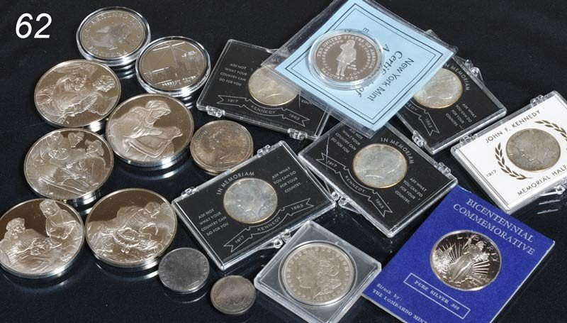 62: TRAY LOT OF SILVER COINS AND MEDALIONS   Shipping I