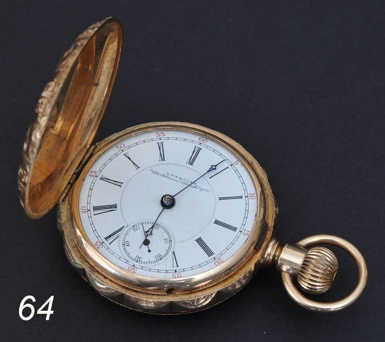 64: AMERICAN WALTHAM 14K GOLD POCKET WATCH with chased