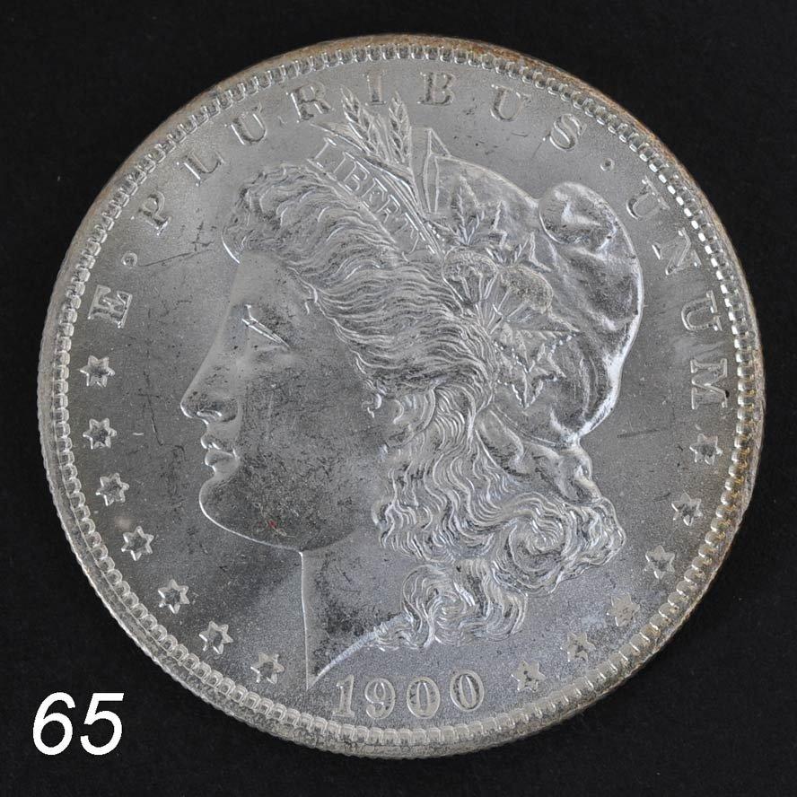 """65: MORGAN DOLLAR 1900-O graded """"MS-65 FS""""   Shipping I"""