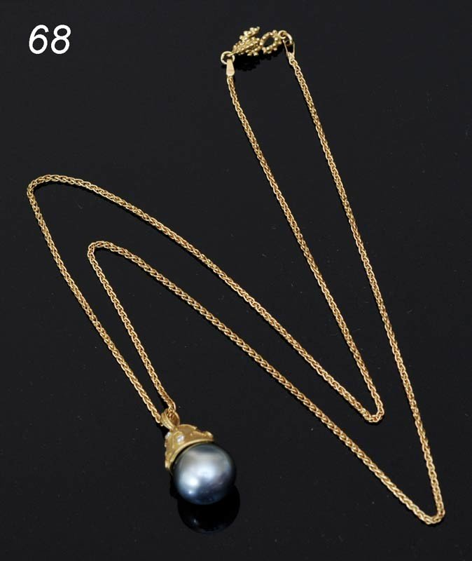 """68: NECKLACE 18K WITH TAHITIAN PEARL 23"""" chain with gol"""