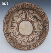 501: LARGE ZUNI DOUGH BOWL with elaborate red and brown