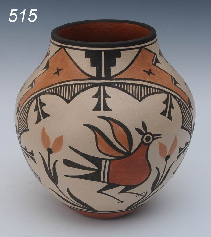515: ZIA POLYCHROMED BIRD POT signed Elizabeth Medina 7