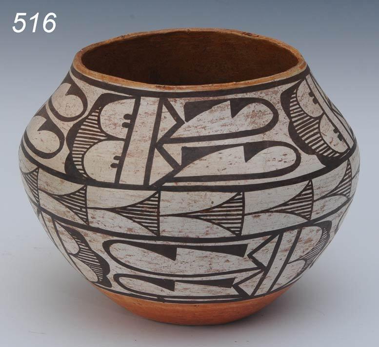 """516: ZUNI POLYCHROMED POT 7 1/2"""" diameter, 6"""" high earl"""