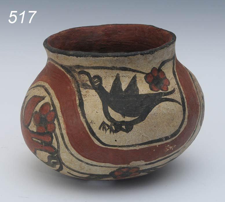517: PUEBLO POLYCHROMED BIRD POT identified on bottom a