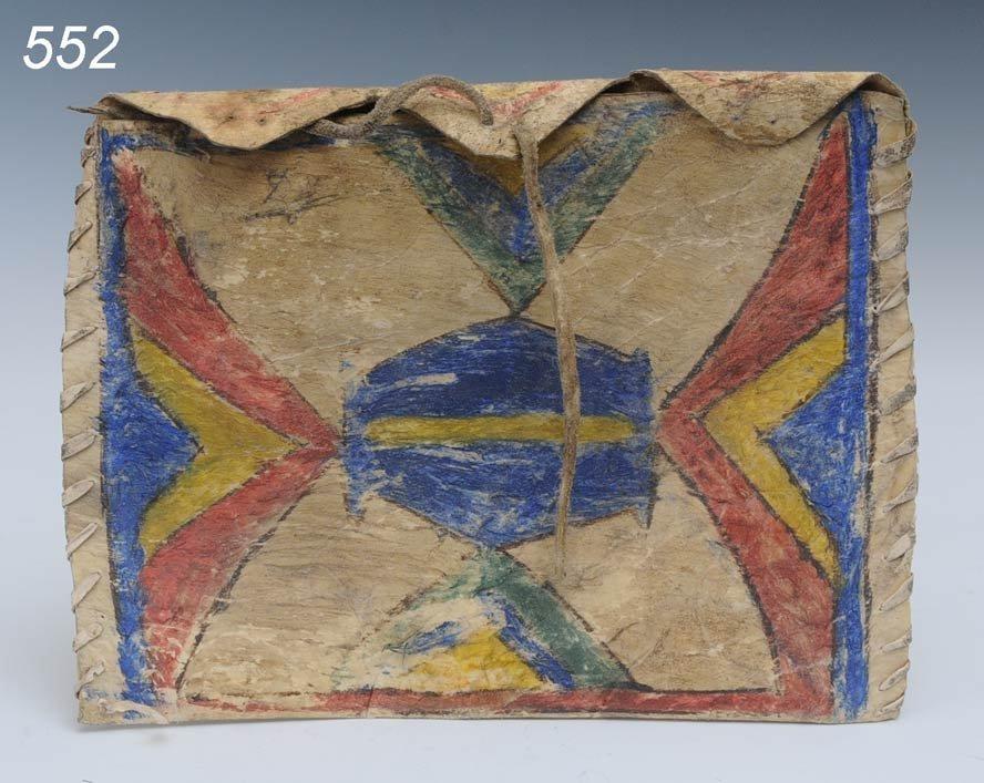 """552: PLAINS PARFLECHE BAG 10""""x 7 1/2"""" 19th century  Shi"""