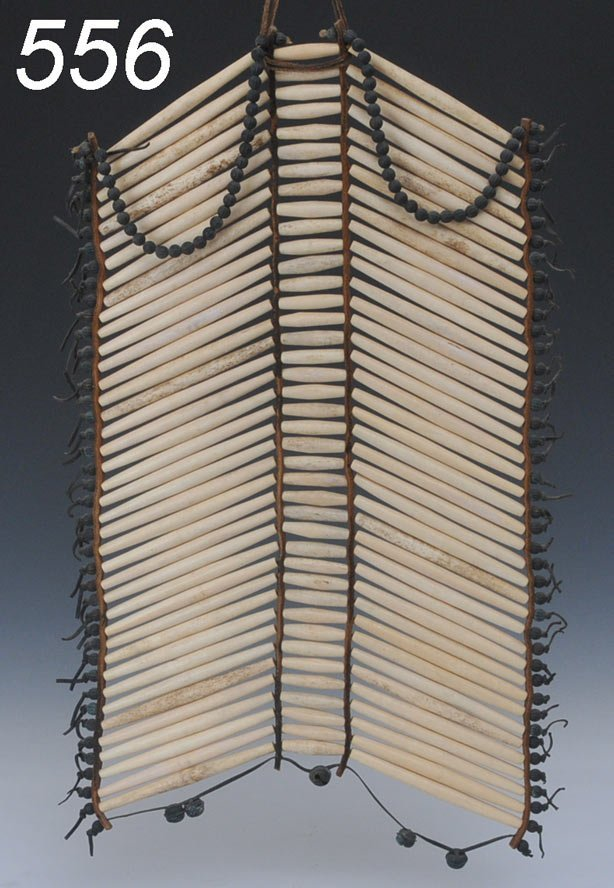556: SIOUX HAIR PIPE BREAST PLATE with hide and bell fr