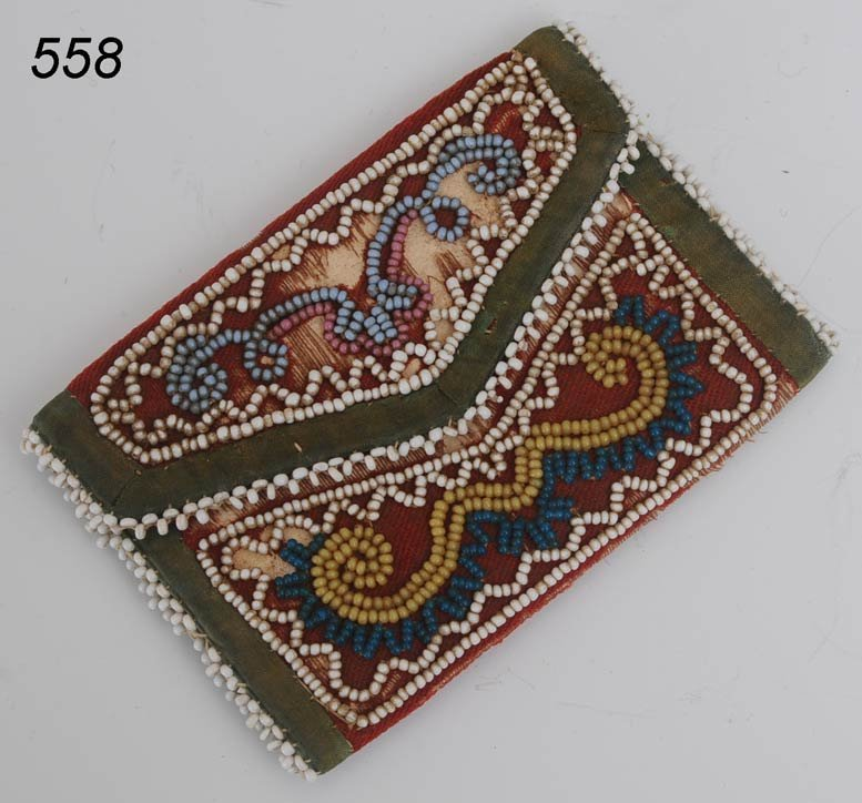 """558: EASTERN BEADED COIN PURSE 3 1/4""""x 2 1/4"""" with pres"""