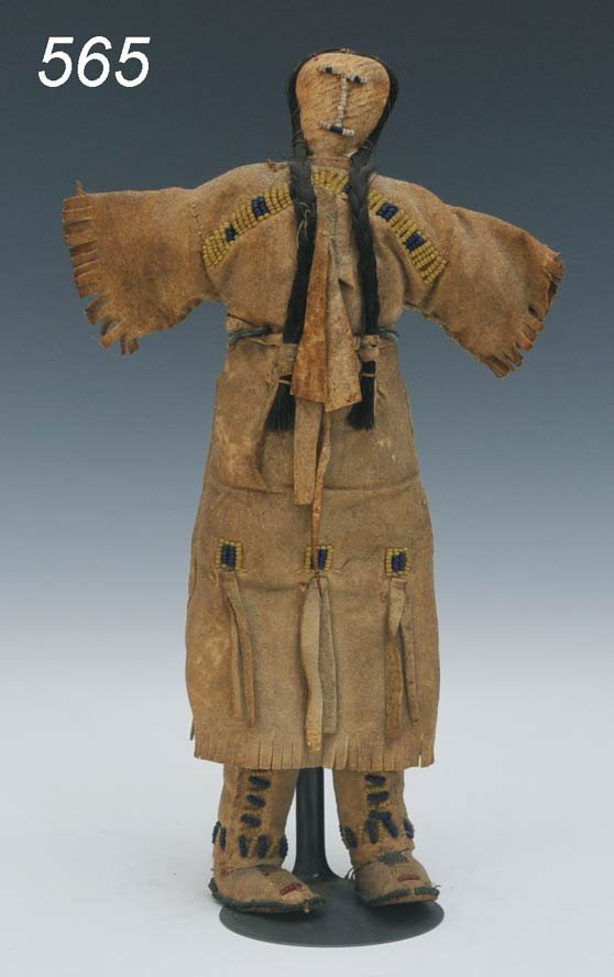 """565: EARLY ARAPAHO DOLL with beadwork 11 1/8"""" high 19th"""
