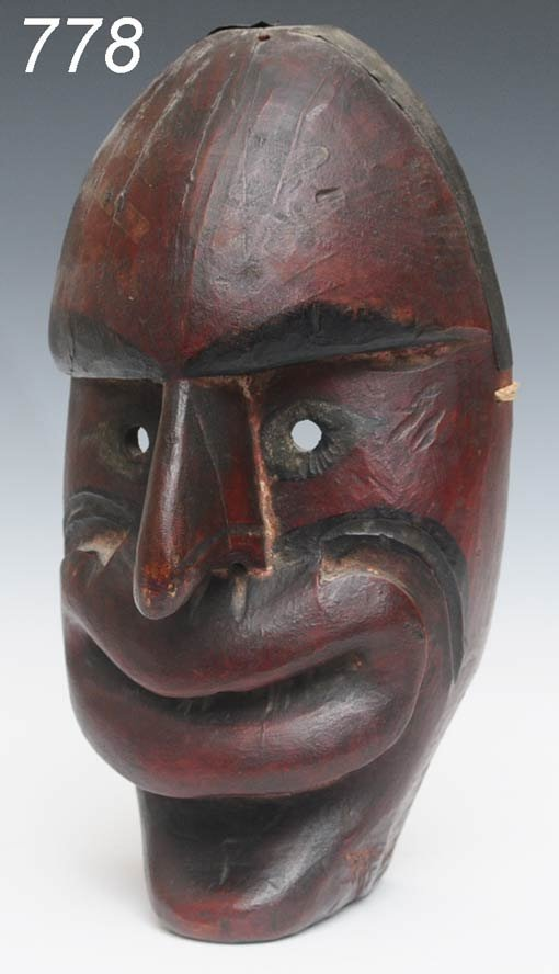 """778: IROQUOIS FALSE FACE MASK 13"""" high probably late 19"""