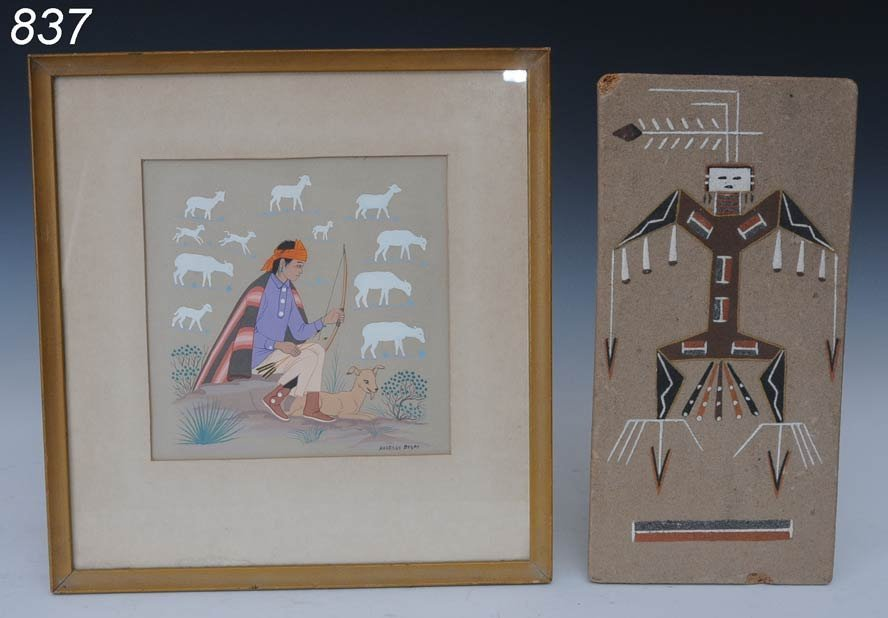 837: HARRISON BEGAY GOUACHE together with SAND PAINTING