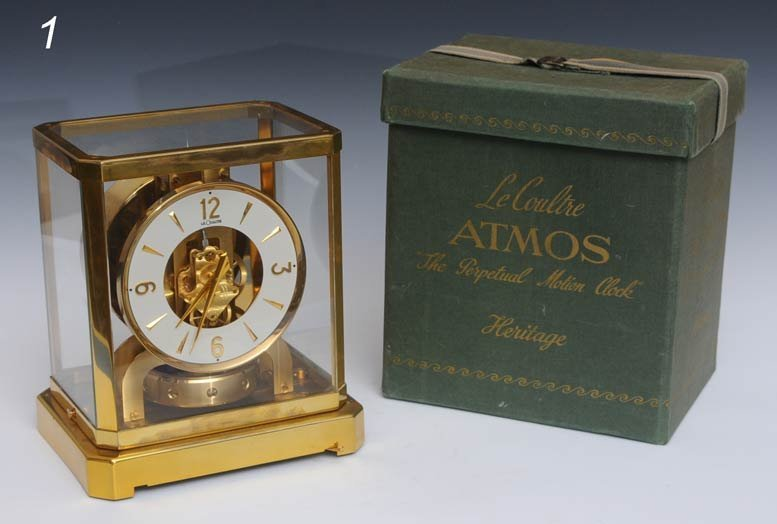 "1: LE COULTRE ATMOS CLOCK with original box 9 1/4"" high"