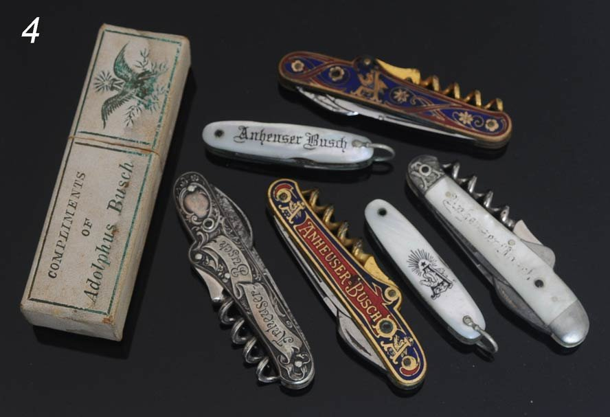 4: ANHEUSER-BUSCH ADVERTISING KNIVES (6), circa 1900