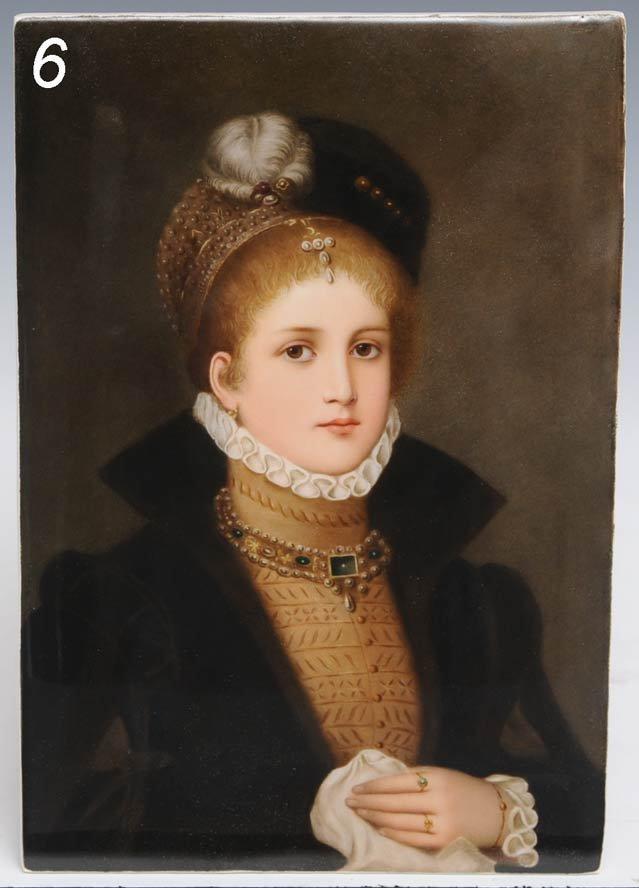 6: GERMAN PAINTED PORCELAIN PLAQUE depicting a noblewom