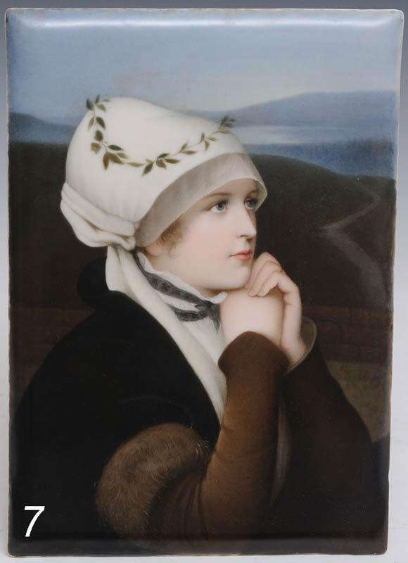 7: GERMAN PAINTED PORCELAIN PLAQUE depicting a woman wi