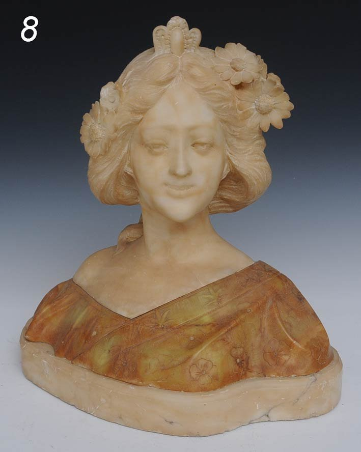 "8: ITALIAN ALABASTER BUST OF A MAIDEN 15 1/2"" wide, ear"