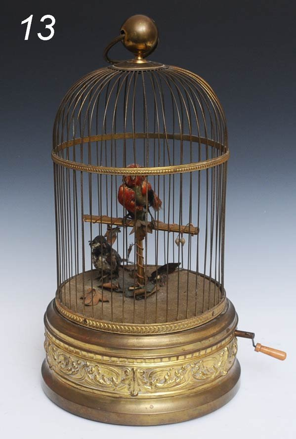 "13: FRENCH DOUBLE BIRD CAGE AUTOMATON 20 1/2"" high, cir"