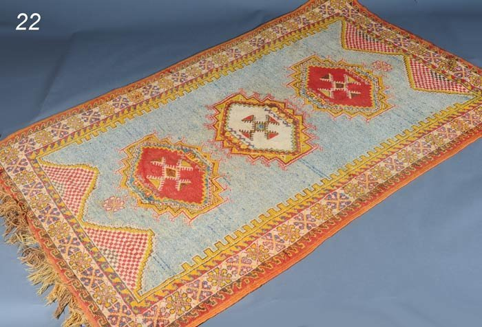 "22: TURKISH CARPET with three medalions 5'2""x 8'2""   Sh"