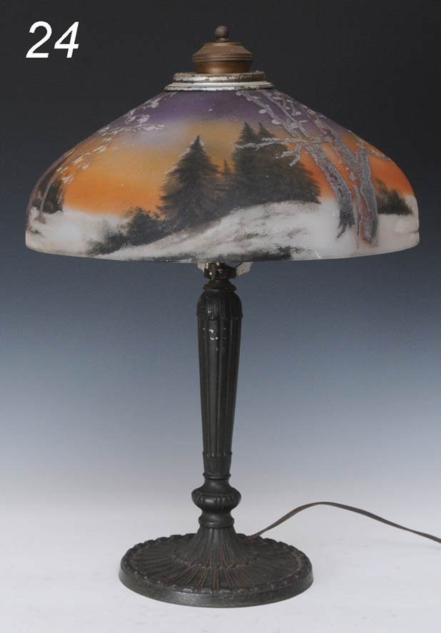24: REVERSE PAINTED TABLE LAMP Pittsburgh Lamp Company,