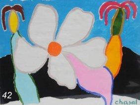 """MALCOM DE CHAZAL Flower 22""""x 30"""" Watercolor Signed"""