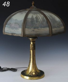 MILLER REVERSE PAINTED PANEL LAMP With Landscape Sc