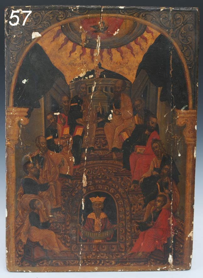 "57: RUSSIAN ICON Apostles 21 1/2""x 15 1/4"" 19th century"