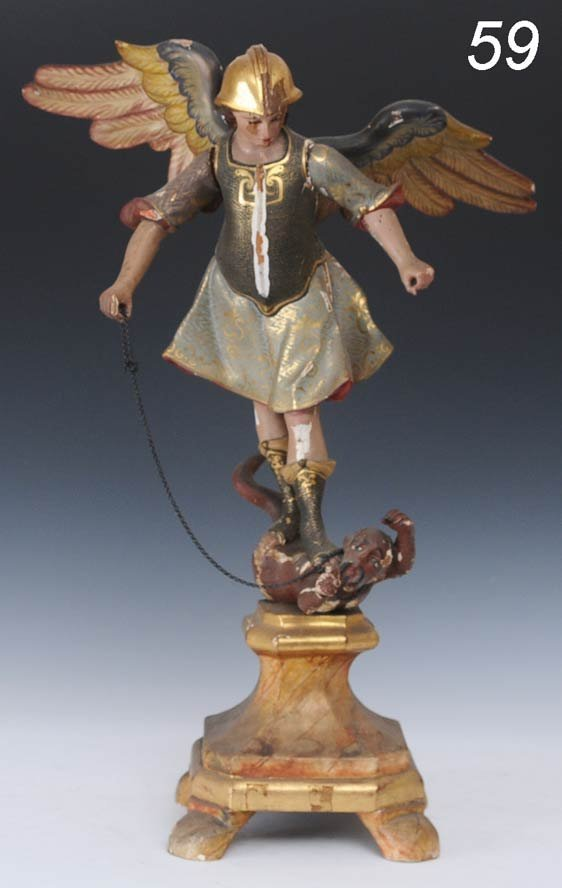 """59: CARVED AND POLYCHROME FIGURE St. Michael 23"""" high e"""