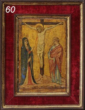 "EARLY RUSSIAN ICON The Crucifixion 11 1/2""x 7 1/2"""