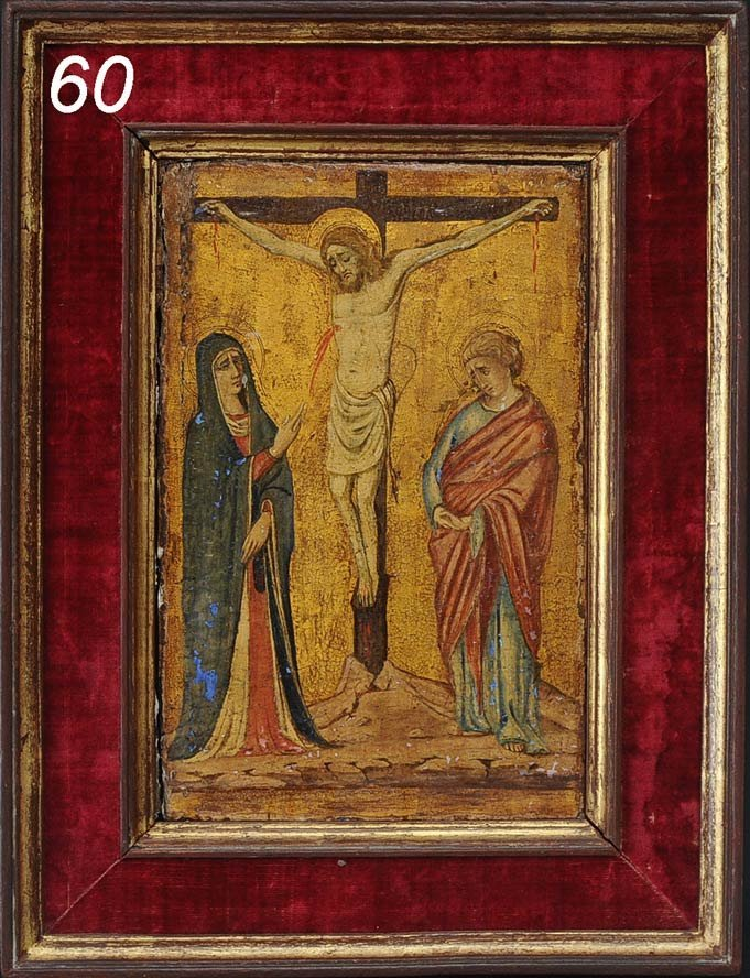 """60: EARLY RUSSIAN ICON The Crucifixion 11 1/2""""x 7 1/2"""""""