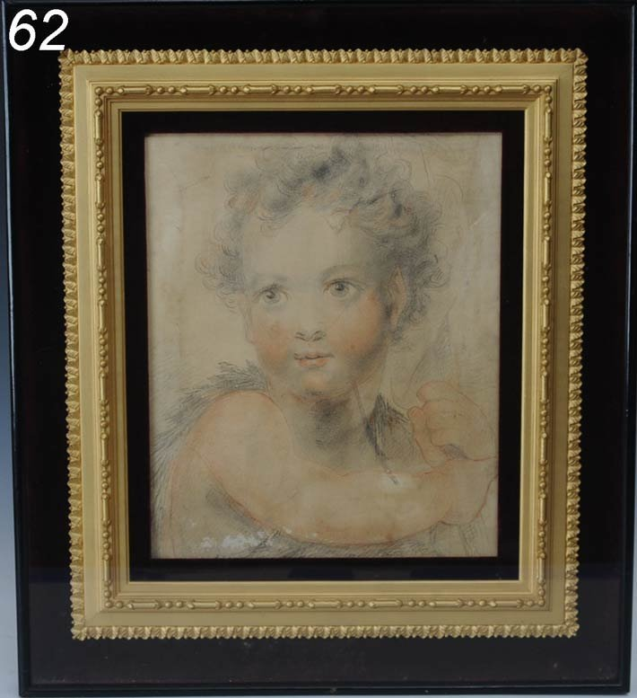 """62: OLD MASTER DRAWING Face of Young Boy 11""""x 9 1/4"""" pe"""