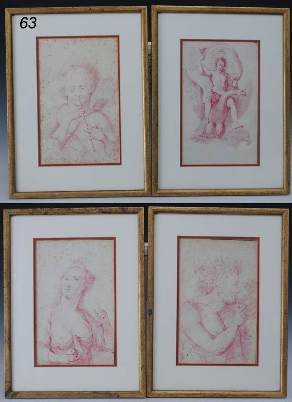 """63: FOUR ITALIAN OLD MASTER DRAWINGS each approx. 11""""x"""