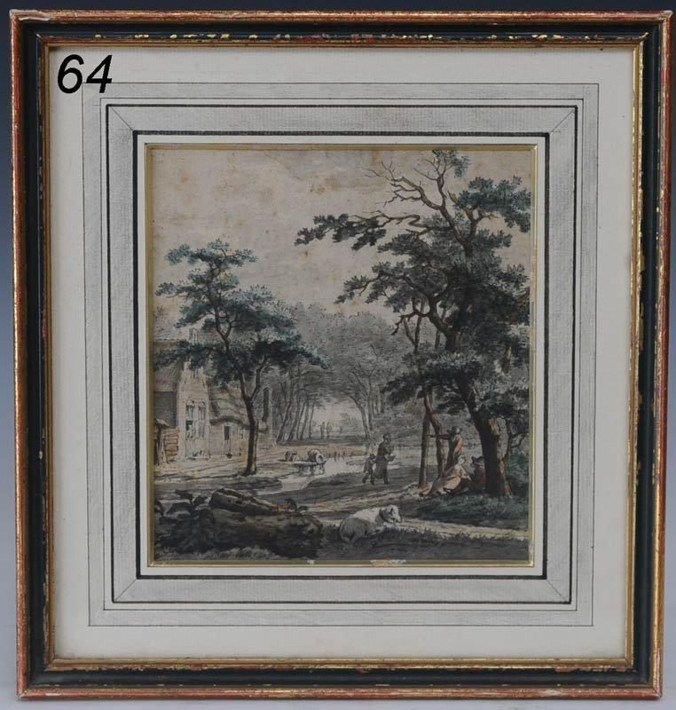 """64: OLD MASTER Dutch Village Scene 7""""x 6 1/4"""" watercolo"""