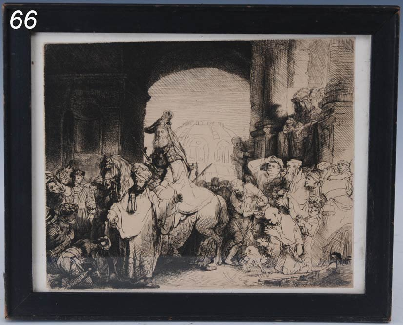 """66: after REMBRANDT The Triumph of Mordecai 6 5/8""""x 8 1"""