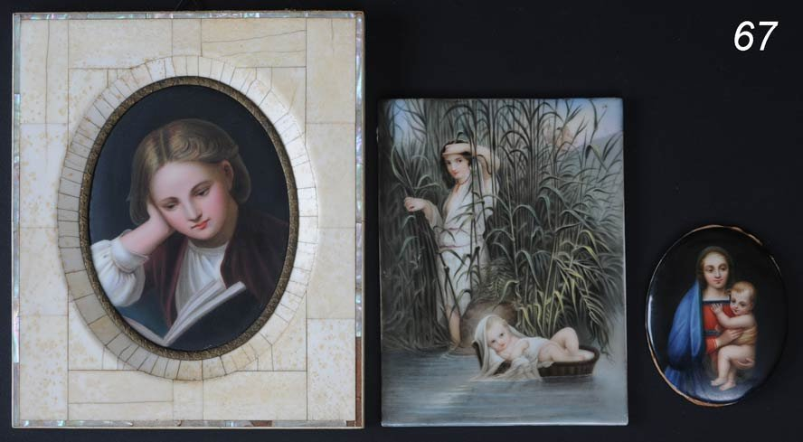 67: THREE GERMAN PORCELAIN PLAQUES including Madonna an