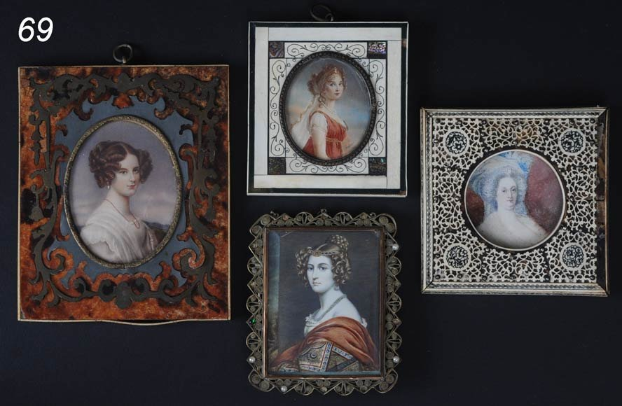 69: FOUR PORTRAIT MINIATURES one with boulle frame larg