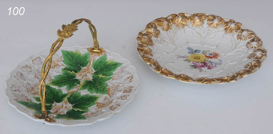 100: PAIR OF MEISSEN SERVING DISHES basket and low bowl