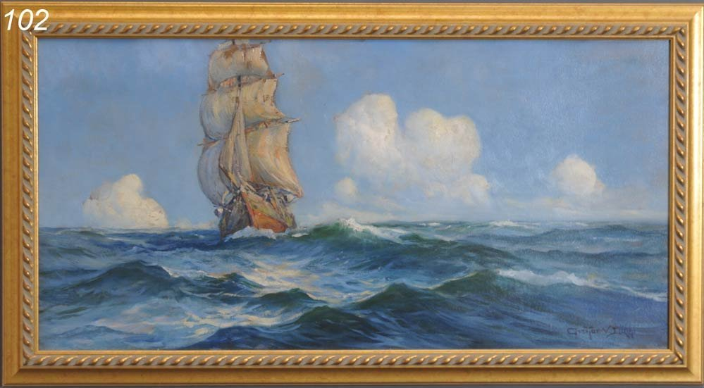 "102: ARTHUR V. DIEHL On The High Seas 20"" x 40"" oil on"