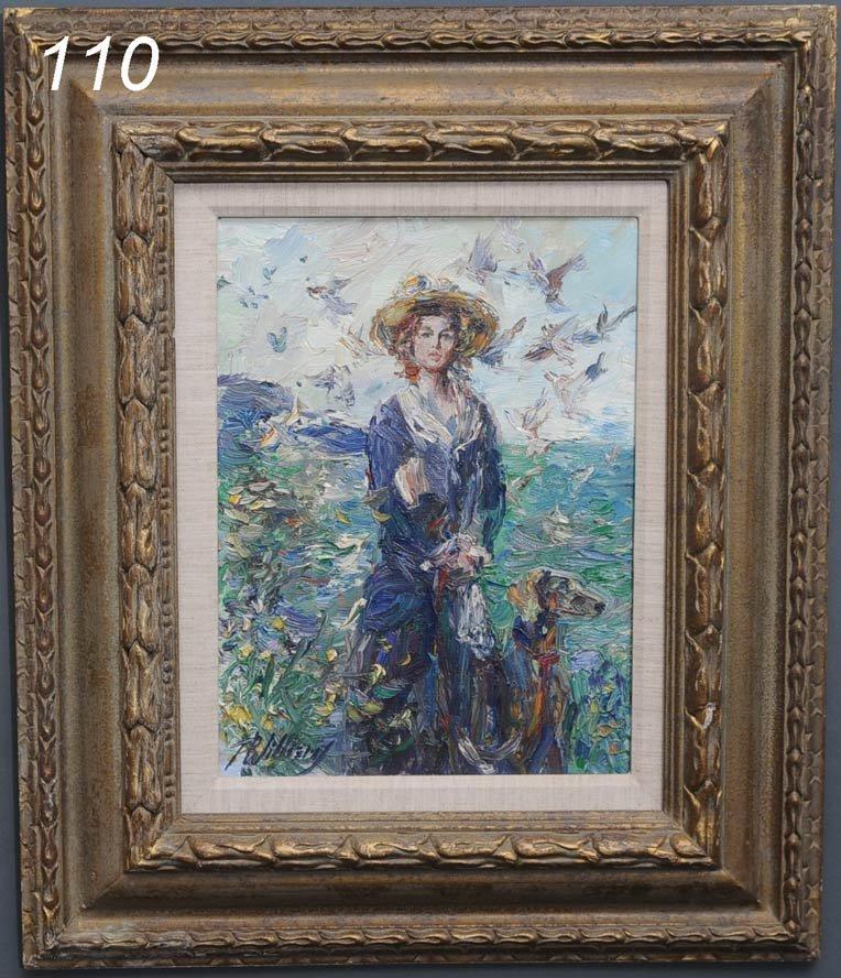 """110: PAUL WILLIAMS Blue Velvet 16""""x 12"""" oil on canvas s"""