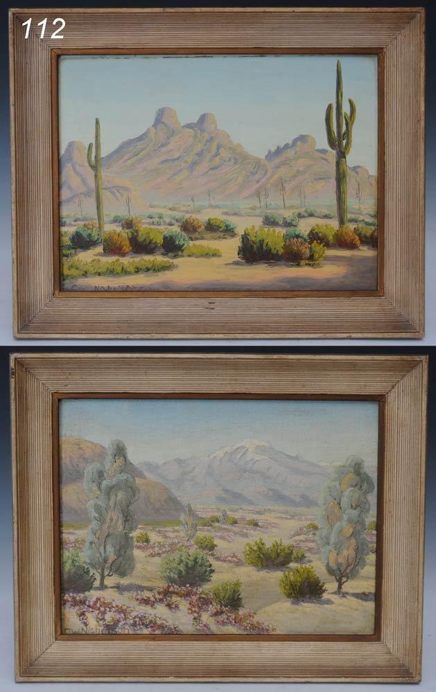"112: CHARLES W. NICHOLSON Pair Desert Scenes 9""x 12"" oi"