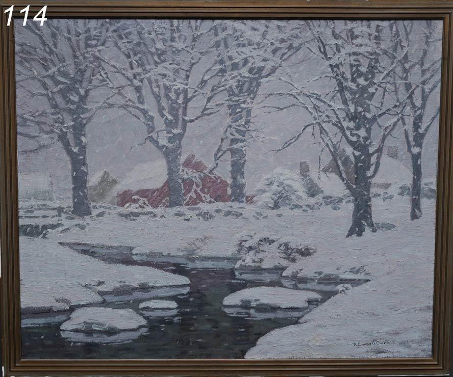 "114: ROBERT EMMETT OWEN Winter on the Farm 36"" x 44""  o"