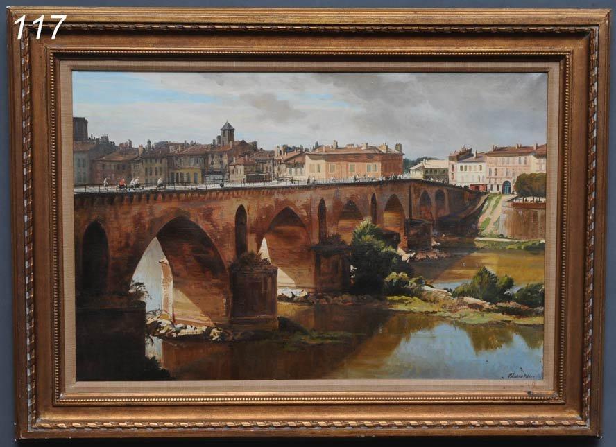 """117: OGDEN PLEISSNER Pont d'Avignon 20"""" x 30"""" oil on ca"""