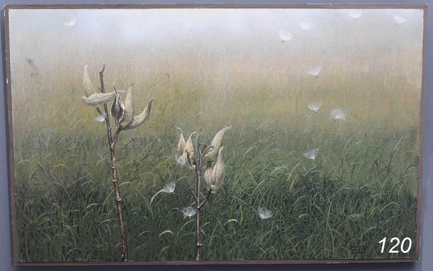 """120: WILLIAM WARD BEECHER Milkweed oil on panel 30""""x 48"""
