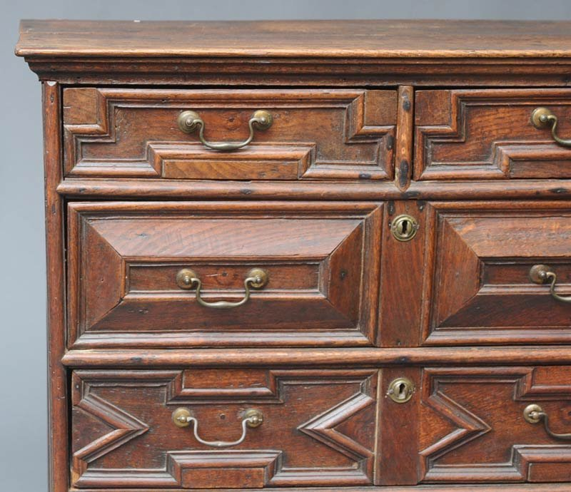 "212: DUTCH BAROQUE OAK CHEST OF DRAWERS 38"" high, 38""x  - 2"
