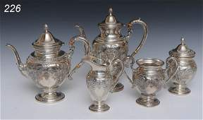 226 WHITING STERLING SILVER TEA SET 5 with repousse